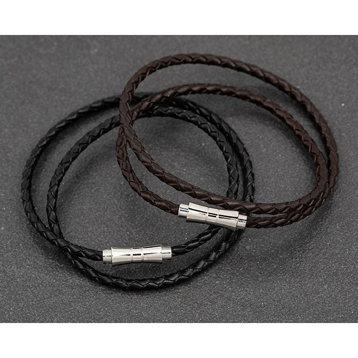 Mens Double Plait Leather Bracelet | GORGEOUS GEORGE