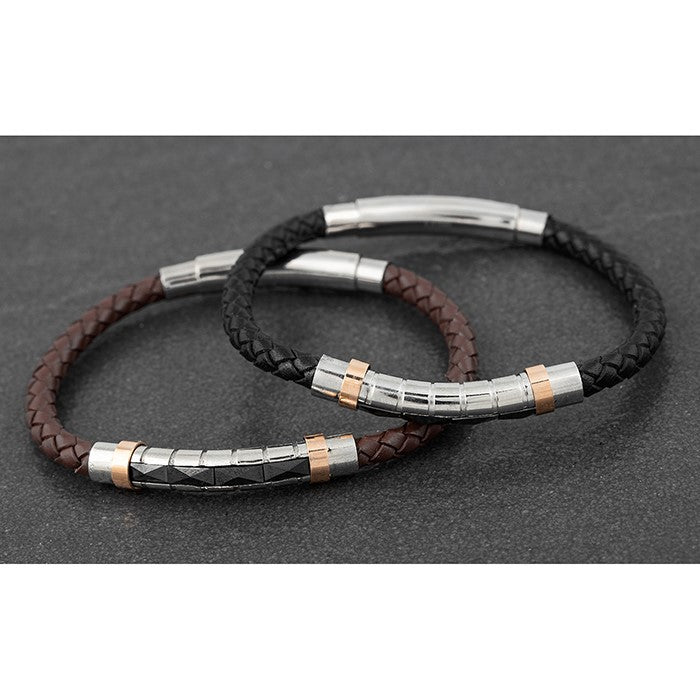 Mens Two Tone Stainless Steel & Leather Bracelet | GORGEOUS GEORGE