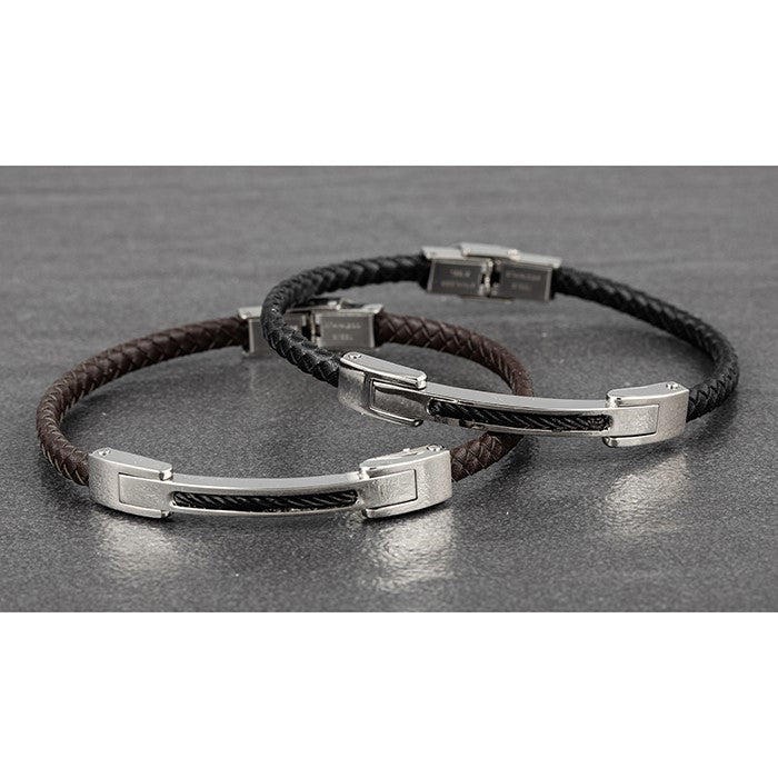 Mens Silver Bar Leather Bracelet | GORGEOUS GEORGE