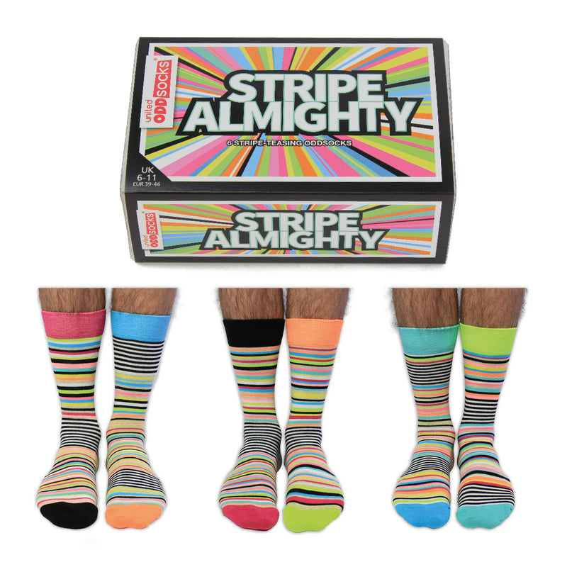 Stripe Almighty Six Odd Socks | GORGEOUS GEORGE