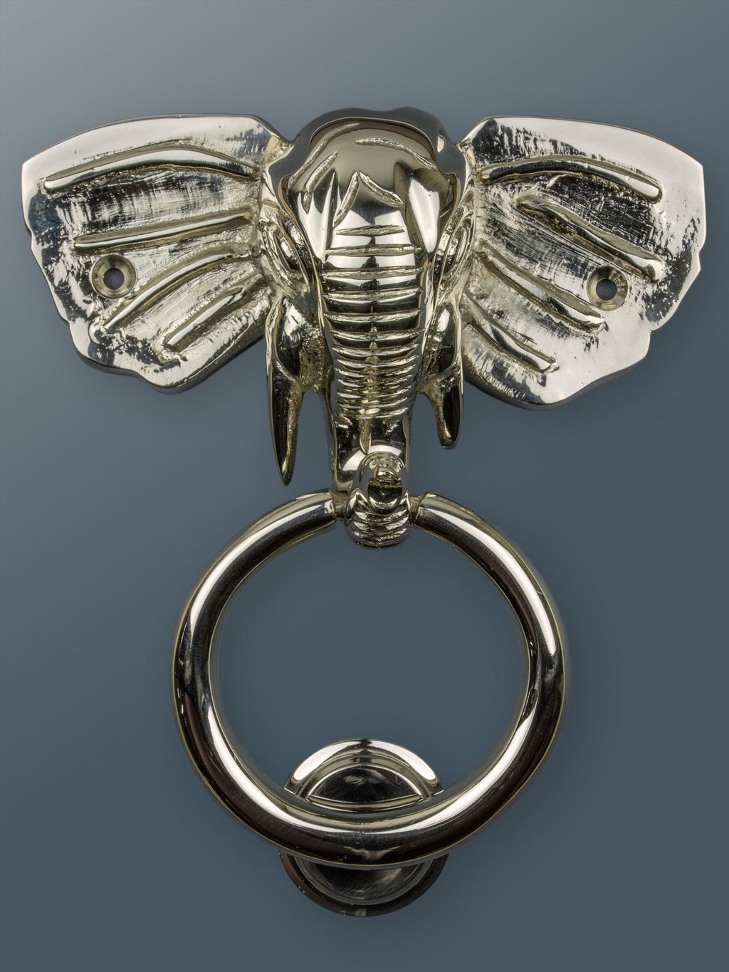 Elephant Door Knocker Ring-Nickel/Chrome Finish