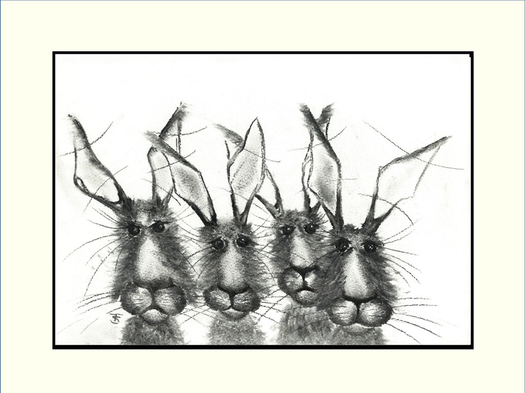 Hare Quartet Mounted Hare Print | GORGEOUS GEORGE