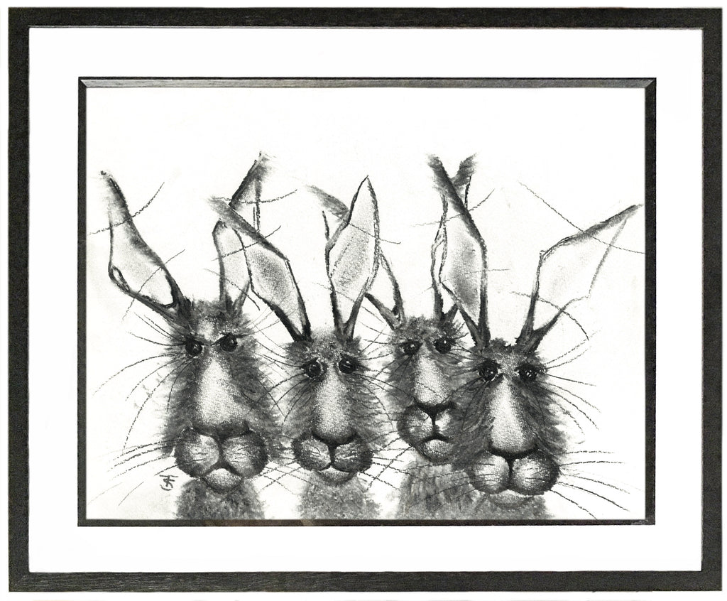 Hare Quartet Framed Hare Illustration | GORGEOUS GEORGE