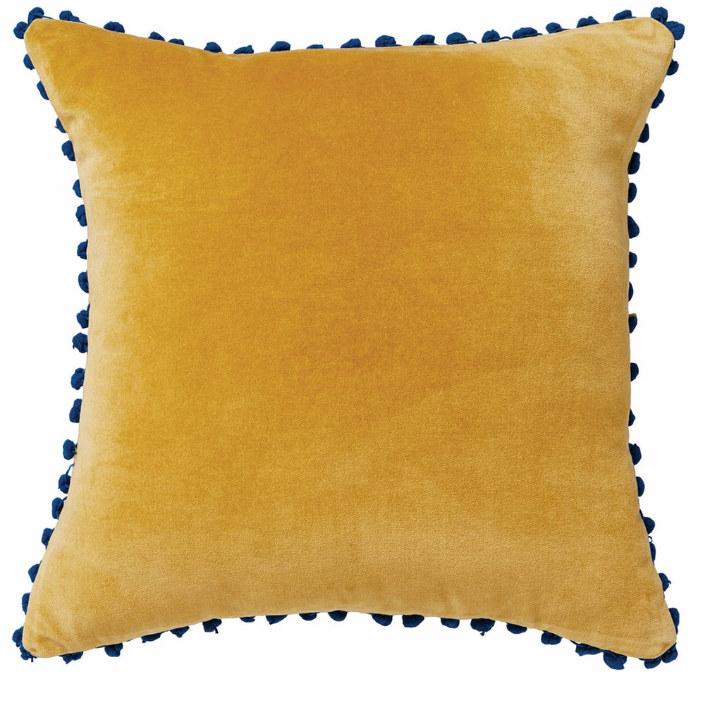 Velvet Cushion with Pom Pom Trim