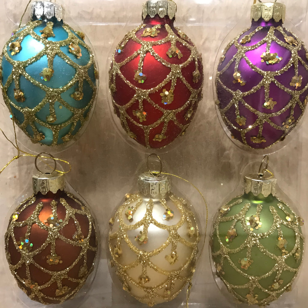 Set of 6 Glass Egg Decorations | GORGEOUS GEORGE