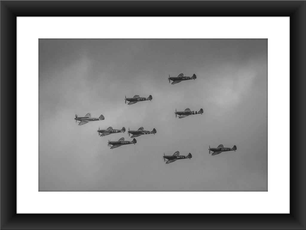 Mounted Nine Spitfires Print - GORGEOUS GEORGE