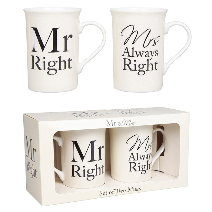Mr Right Mrs Always Right Mug Set | GORGEOUS GEORGE