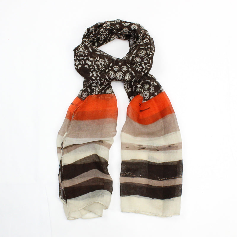 Floral Scarf with Stripe Hem | GORGEOUS GEORGE
