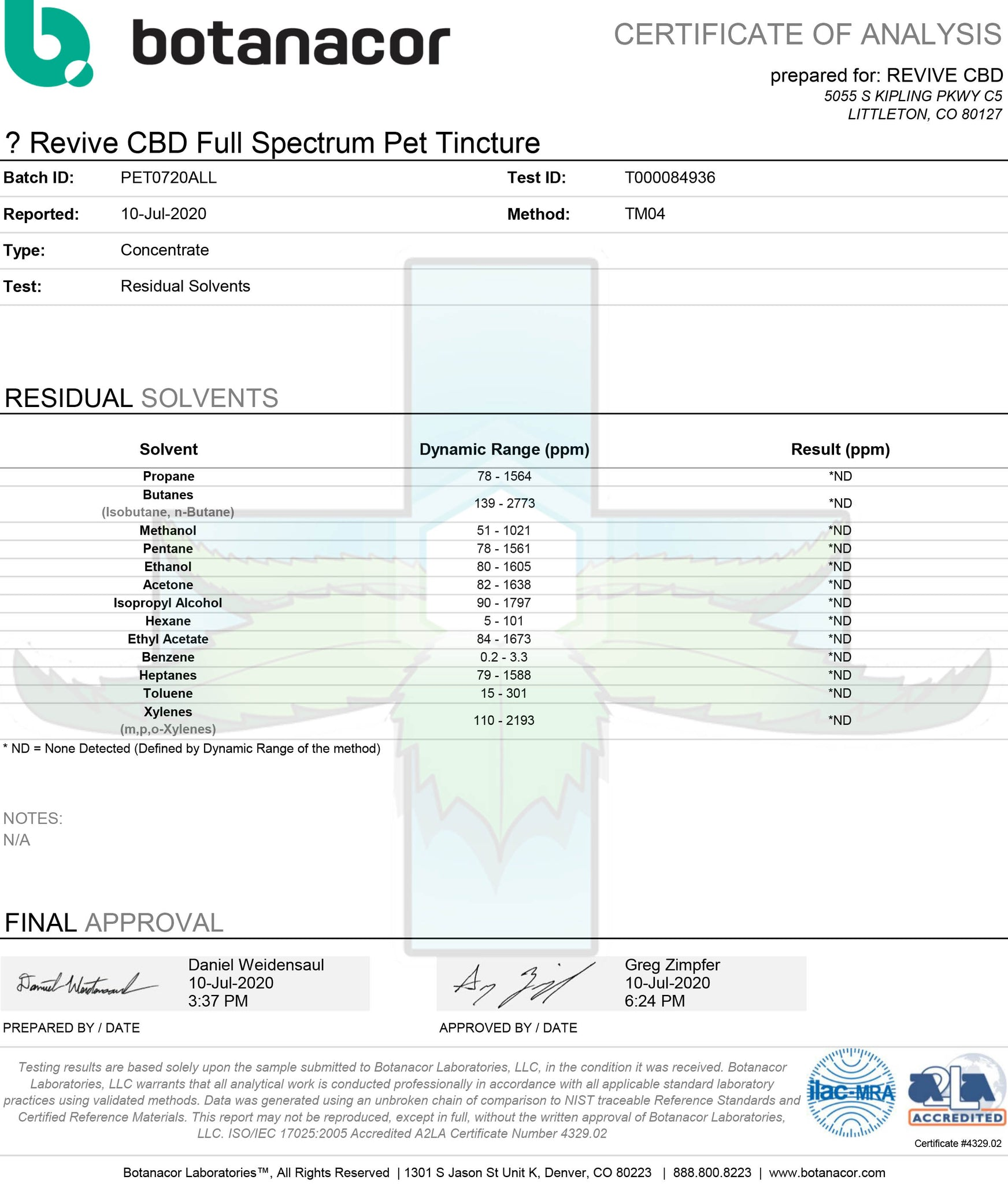 Certificate of Analysis for Revive CBD Pet Tinctures 600mg 60mL Residual Solvents