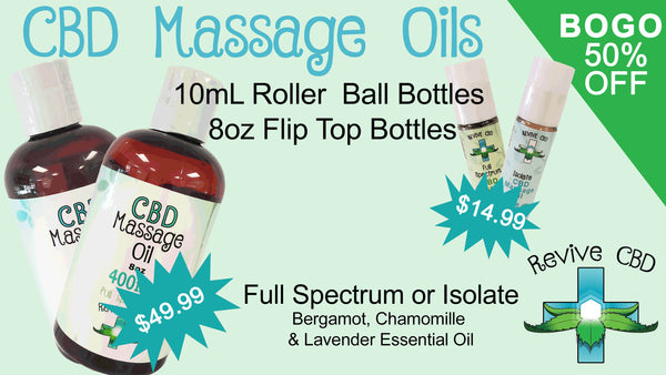 Revive CBD Massage Oils available BOGO 50% OFF Everyday Deals!  Shop at our Littleton store or online!