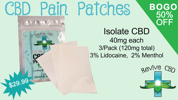 Revive CBD in Littleton, CO has the best CBD Isolate Pain Patches!  Great deals on CBD!  BOGO 50% Off Everyday!