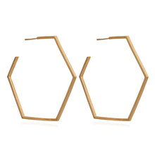 Load image into Gallery viewer, Oversized Hexagon Hoop Earrings - Gold