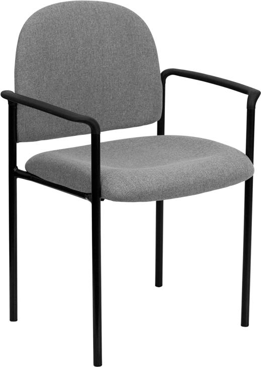 Comfort Gray Fabric Stackable Steel Side Reception Chair with Arms