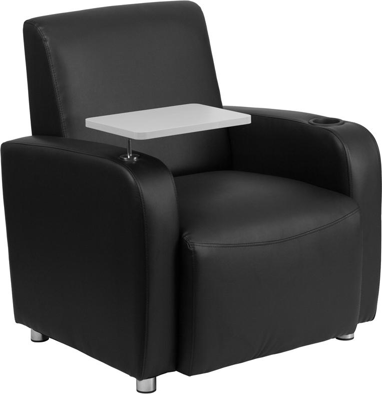 Black Leather Guest Chair with Tablet Arm, Chrome Legs and Cup Holder