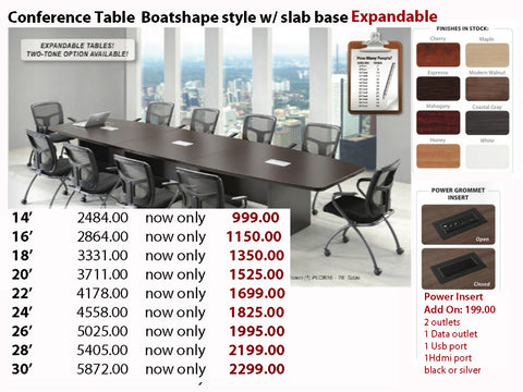 # 7 Conference Table - Boatshape w/ Slab Base EXPANDABLE