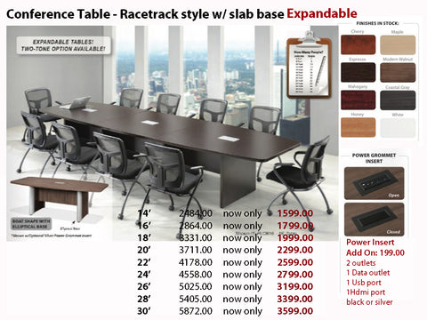 # 8 Conference Table - Boatshape w/ Elliptical Base EXPANDABLE