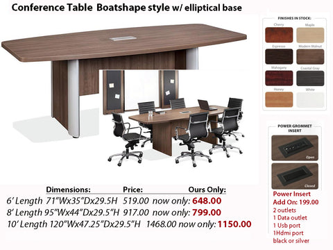 # 2 Conference Table Racetrack w/ Elliptical Base