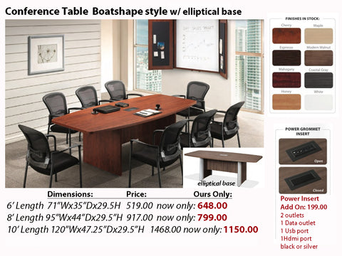 # 6 Conference Table Boatshape w/ Elliptical Base