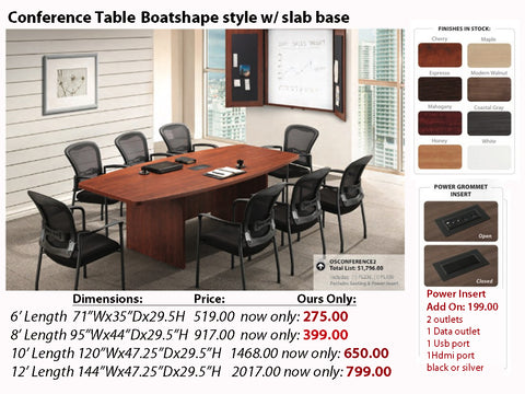 # 5 Conference Table - Boatshape w/ Slab Base