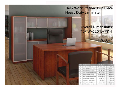 # 1 Desk w/ Workstation - Cherry Premium Laminate