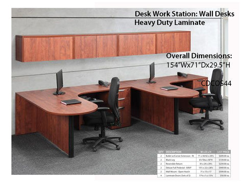 Copy of # 3 Bullet Desk L-Station with wall mount hutch