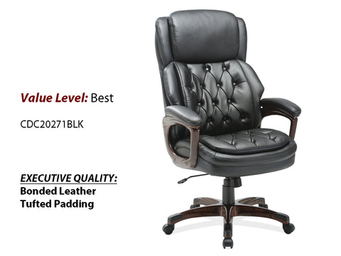 #2 Best Executive High Back, Tufted Seat & Back w/ Plastic Wooden Arms & Base