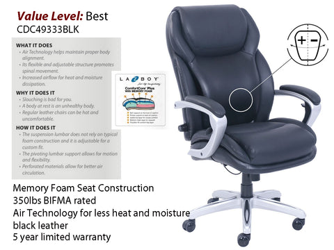 #7 Best Executive, LA-Z-BOY Adjustable Air Chair w/ Silver Frame