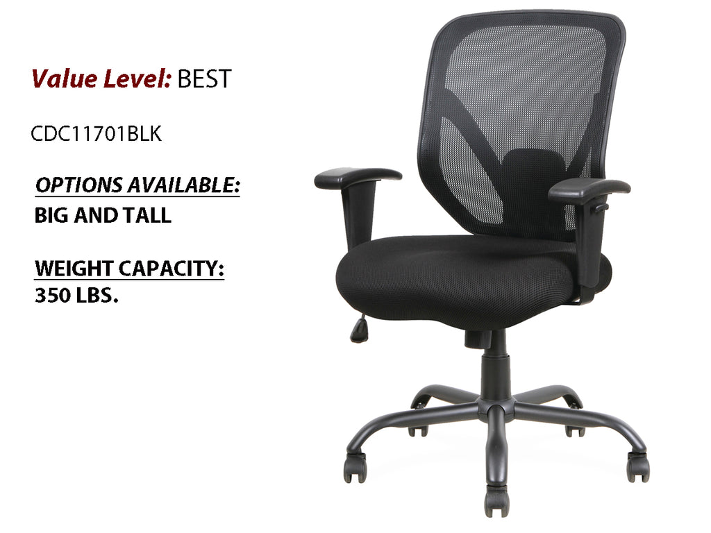 # 11 Best Mesh Task Chair BIG and TALL w/ Black Steel Heavy-Duty Base