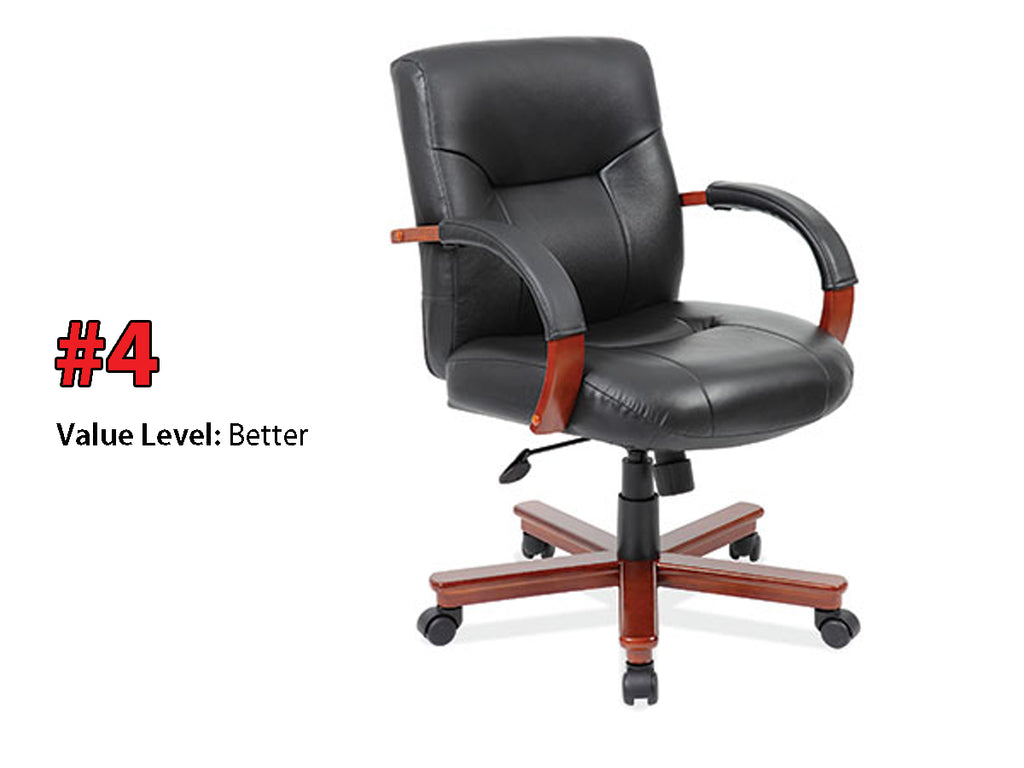 #4 Better Quality: Executive Mid Back, Swivel Tilt w/Cherry Frame