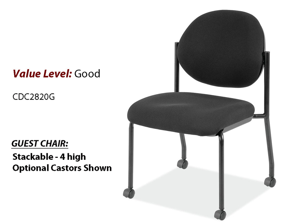 #19 Good Armless Guest/Side Chair w/Black Frame