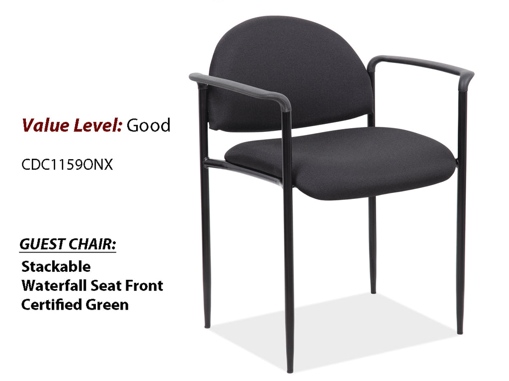 #4 Good Guest Side Chair w/Arms and Black Frame
