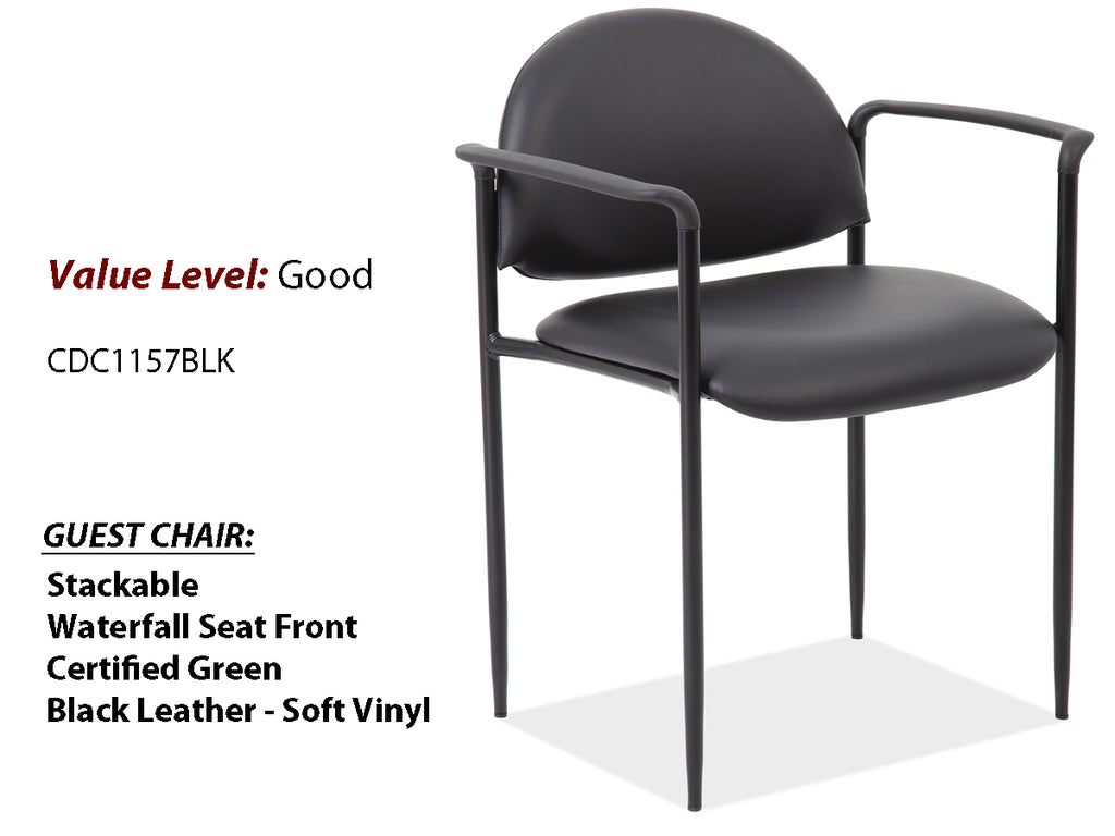 #6 Good Guest Side Chair w/Arms and Black Frame