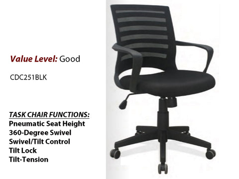 #9 Good Task Chair W/Arms and Black Frame