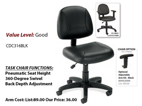 #10 Good Task Posture Chair, Leather with Arms Added