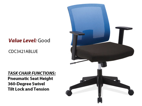#4 Good Task Chair Blue Mesh Back w/ Arms and Black Frame