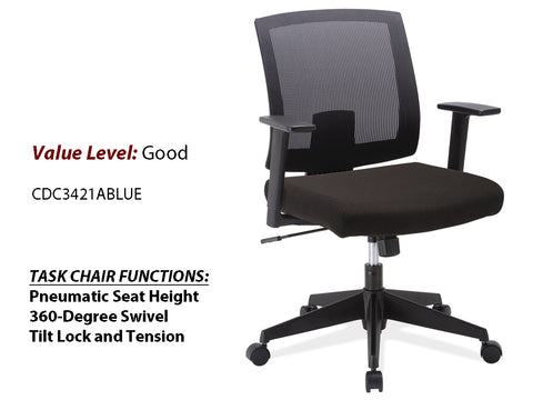 #4 Good Task Chair Black Mesh Back w/ Arms and Black Frame