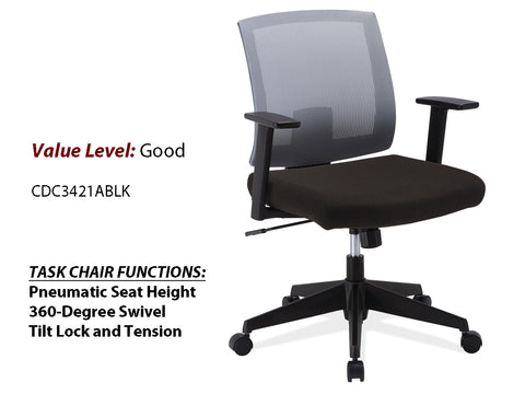 #4 Good Task Chair Gray Mesh Back w/ Arms and Black Frame