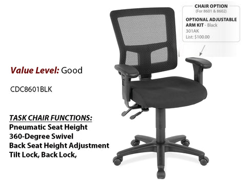 #5 Good Task Chair w/ Black Frame w/ optional arms