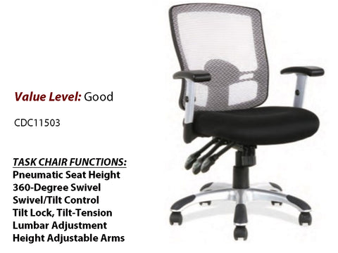 #7 Good Basic Task Chair 3 Paddle Adjustment w/ Painted Nylon Base & Arms
