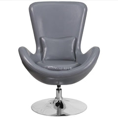 Egg Series Gray Leather Side Reception Chair