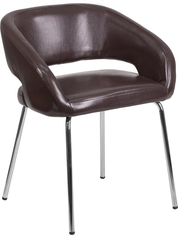 Fusion Series Contemporary Brown Leather Side Reception Chair