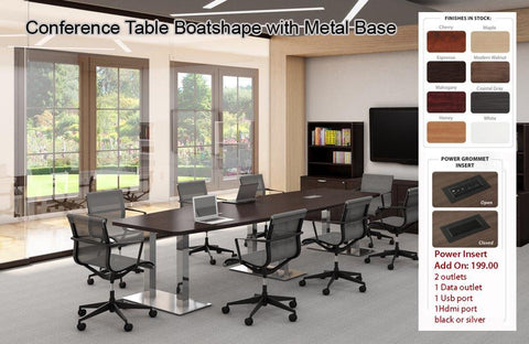 # 9 Conference Table - Boatshape w/ Metal Base