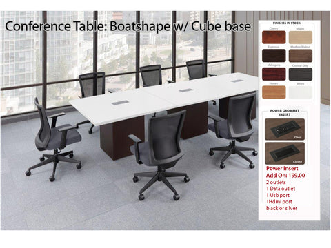 # 10 Conference Table - Boatshape w/ Cube base