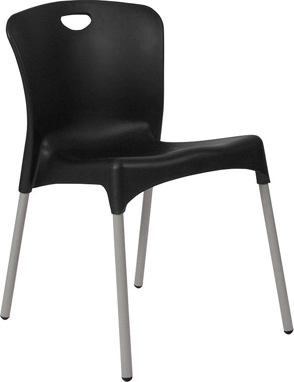HERCULES Series Black Plastic Stack Chair with Titanium Frame