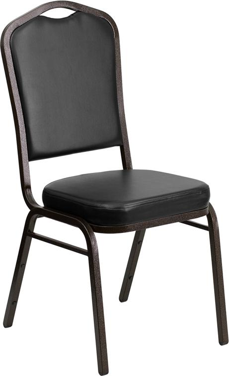 HERCULES Series Crown Back Stacking Banquet Chair in Black Vinyl - Gold Vein Frame