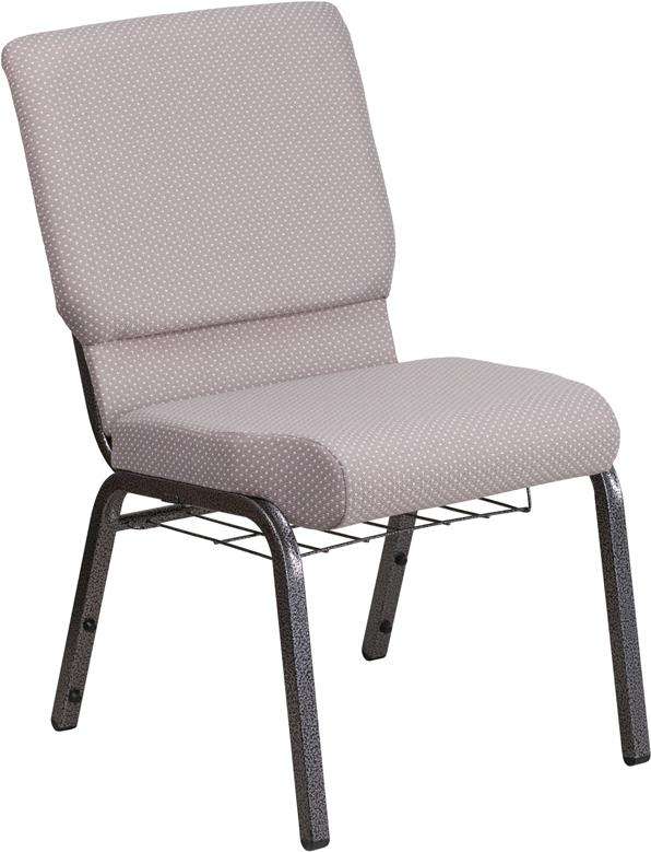 HERCULES Series 18.5''W Church Chair in Gray Dot Fabric with Book Rack - Silver Vein Frame