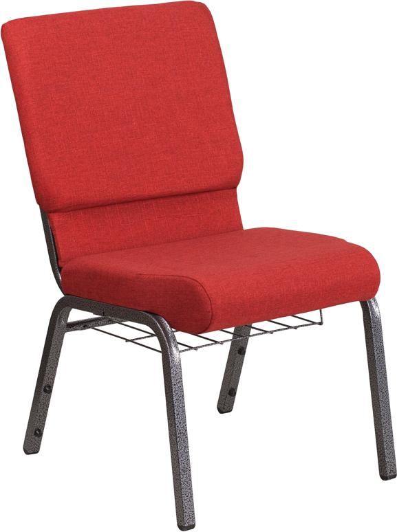 HERCULES Series 18.5''W Church Chair in Red Fabric with Cup Book Rack - Silver Vein Frame