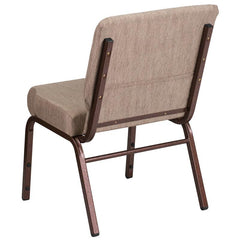 HERCULES Series 21''W Stacking Church Chair in Beige Fabric - Copper Vein Frame