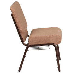 HERCULES Series 21''W Church Chair in Caramel Fabric with Cup Book Rack - Copper Vein Frame