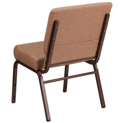 HERCULES Series 21''W Stacking Church Chair in Caramel Fabric - Copper Vein Frame
